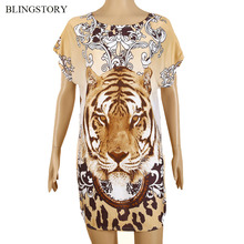 Blingstory Fashion Retro women summer clothes womans tops Brand Short Sleeved Tiger loose t shirt 3d WY123