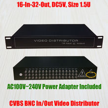 1.5U 16 In 32 Out Composite CVBS BNC Video Distributor 16CH Input Video Splitter Analog CCTV Security System Signal Amplifier(China)