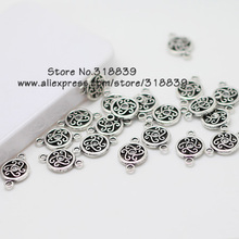 Round Charms Jewelry Connectors Antique Silver Metal Alloy Jewelry Fit DIY Jewelry Making 60pcs 12*19mm 6640