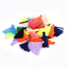 100pcs 27mm Tassels Cotton Charms Imitation Silk Satin tassels Pendant for Making Bracelet & Earring Jewelry