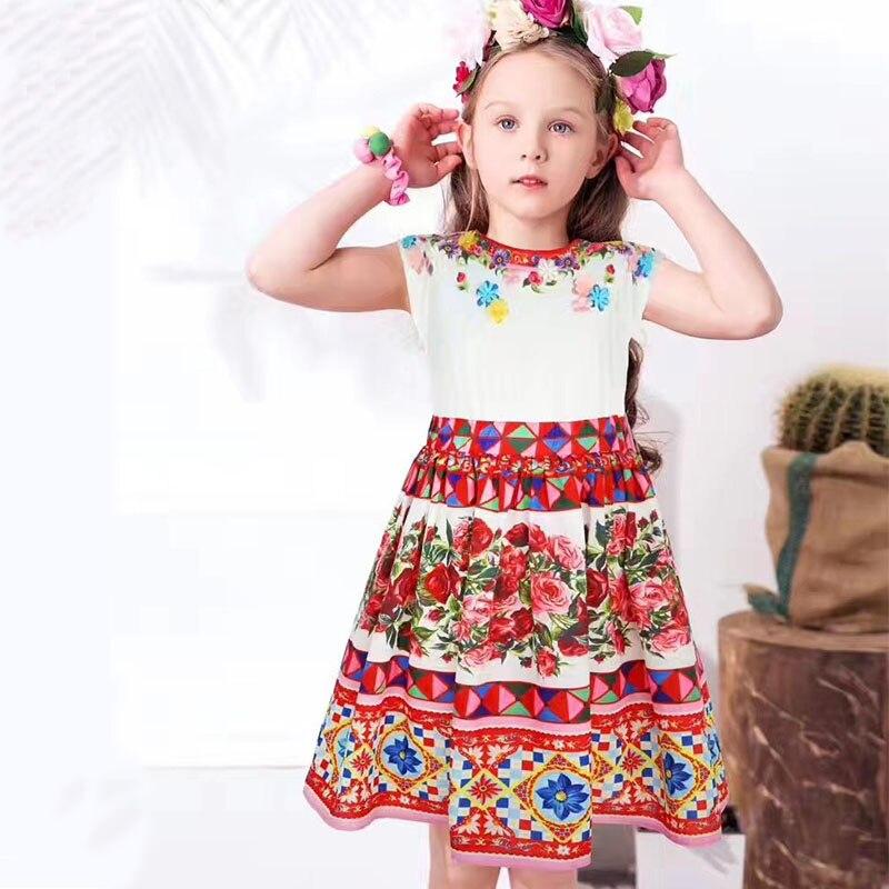 Girls Princess Dress with Appliques Flowers 2017 Brand Summer Children Dress for Kids Clothes Floral Toddler Dresses<br>