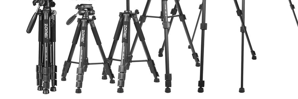 New Zomei Tripod Z666 Professional Portable Travel Aluminium Camera Tripod Accessories Stand with Pan Head for Canon Dslr Camera
