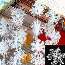 30Pcs Christmas Snow flakes White Snowflake Ornaments Holiday Christmas Tree Decortion Festival Party Home Decor(China)