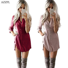 AZZPL Women Spring Long Sleeve Tunic Loose Blouse Shirt 2017 New Summer Casual Red Khaki OL work Shirt Tops Plus Size