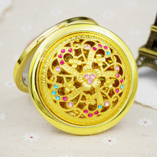 Fashion Bling Cosmetic Mini Mirrors Diameter 7cm Folding Pocket Fashion Golden Metal Makeup Beauty Tool
