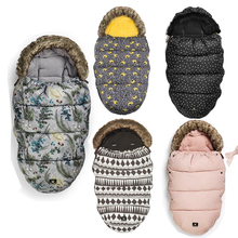 2017 Winter Baby Anti Thermal Windproof stroller Sleeping Bag baby footmuff with fake fur collar(China)