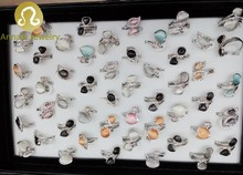 Factory Directly Sales Shop Wholesales Size Shape Mix Cat Eyes Rhinestone rings Men Jewelry 50pcs/box New!