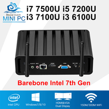Barebone 7th Gen Intel Core i7 7500U i5 7200U Mini PC Windows Office Computer i3 7100U 6100U 4K Multimedia TV Box Mini Desktop(China)
