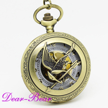 (1032)  Steampunk The Hunger Game Pocket Watch Half Hunter Watch Necklace ,  12 pcs/lot, wholesale