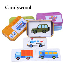 Kids Toys Graph Match Game Puzzle Card Learning Cartoon Fruit Animal Traffic Cards Wooden Toys Educational(China)