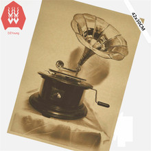 Vintage Phonograph Poster Retro Art Wall Sticker Home Decoration Bar Cafe Decor Plane Wall Sticker 42x30CM