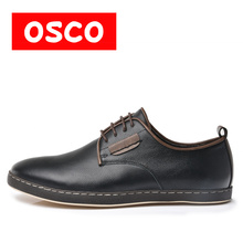 OSCO ALL SEASON New Cow leather Slip on oxfords Men Shoes Fashion Men Casual Color brown men Shoes #RU0008(China)