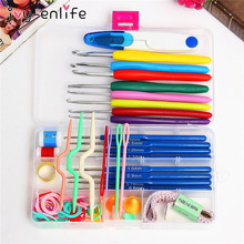 JOY-ENLIFE 16 Different Sizes Crochet Stitches Craft Crochet Set Yarn Hook Stitch Weave Accessories Tape Knitting Needles Box(China)