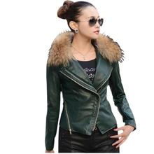 2017 European style fashion slim woman fur coat Winter leather jacket Natural raccoon fur collar High quality winter Fur coat