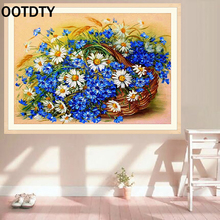OOTDTY Home Decor 5D Diamond painting cross stitch Flower Pastoral mosaic Diamond embroidery Round full pattern rhinestone kits