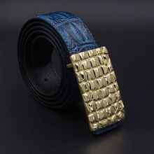 2017 Gold Silver Buckle Alligator Men Genuine Leather Belt Business Casaul Leather Belts Black Blue Quality Guarantee ZH185