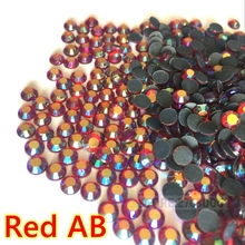 High quality SS6,SS10,SS16,SS20,SS30 Red AB colour ab.siam hotfix rhinestones fake diamond glass diy ornament sewing(China)