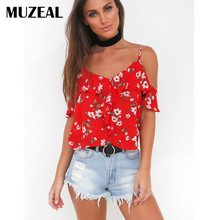 MUZEAL Hot Sexy Girls Floral Red Slip T Shirts Top V Neck Off Shoulder Open Back Strap Ruffle Night Club Beach Lady Tee Shirt 90(China)