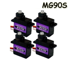 Wholesale 4pcs/Lot MG90S 9g Metal Gear Digital Micro Servos 9g for 450 RC helicopter Plane Boat Car Drop Free shipping