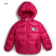 New Baby Girls Hello KItty Jacket Kids Winter Cotton Keep Warm Coat Chirdren Character Lovely Hoodies Outwear And Vest Tow Style(China)