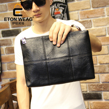 ETONWEAG Brand Cow Leather Black Plaid Day Clutches Zipper Luxury Men Clutch Bag Business Style Messenger Bags Organizer Wallets(China)