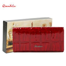 Qianxilu Womens genuine leather Long wallet Alligator Crystal Lady Coin purse Female European and American Style Card Holder Bag