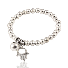 17KM Classic Alloy Silver Color Bead Elastic Bracelet Fashion Jewelry Hand Bear Bell Charm Bracelets pulsera Accessory(China)