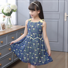 2016 Brand Girls Print Swan Dress Girls Princess Lovely Sleeveless Summer Girls School Perform Fashion Bow Dress Hot Sale