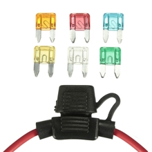 Waterproof In Line Mini Blade Fuse Holder with 6 Fuses 12V Car Automotive 5A 10A 15A 20A 25A 30A 14 AWG Auto Car Fuse Holder