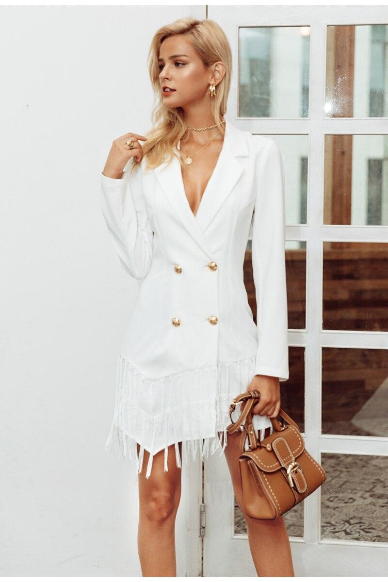 Sexy white tassel blazer v neck fringe suit