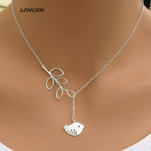 high quality 925 Sterling silver simple leaves cute Animal bird Pendant Sweet Design Necklaces Fashion Jewelry cartoon leaves(China)