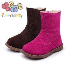 Girls Leather Boots Female Child's Shoes Autumn Fashion Girl Boot Skidproof Toddlers Infant Children Boots With Flat Heel