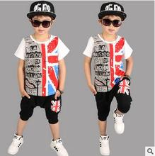 2017 New Summer Children's clothing set Hip Hop Dance Suit boys Union Flag printed Performance Fashion costume shorts & T-shirts