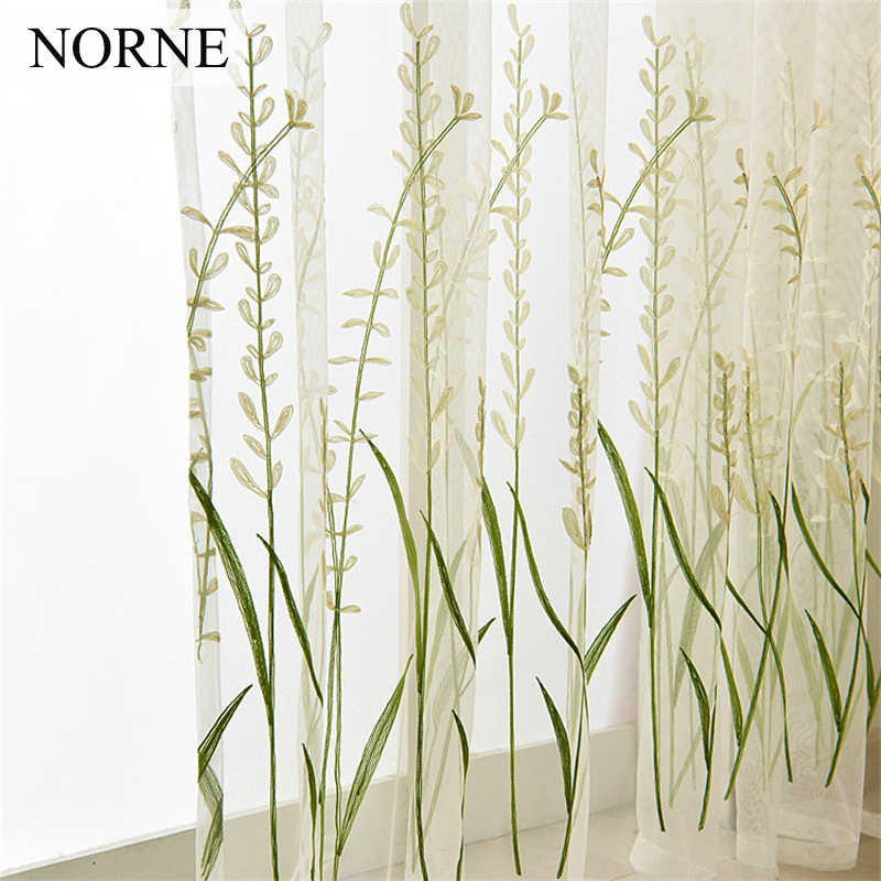 NORNE Embroidered Semi White Tulle Sheer Lace Curtains for Bedroom Living Room Kitchen Door Window Curtain Drape Panels Voiles