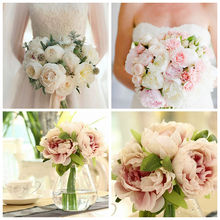 2017 New 1 Bouquet Artificial Fake Peony Silk Flower Wedding Party Home Garden Decor(China)