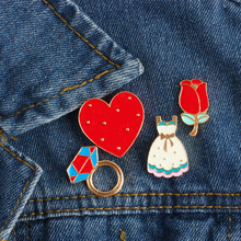 Creative Hot Cartoon Brooch Skirt Men Enamel Pin Rose Love Heart Fashion Brooches For Women Decorative Pins Link Badge Gift(China)