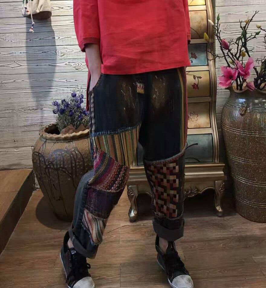 Women 2017 Retro Vintage Ripped Patchworl Denim Pants Ladies Painted Loose Denim Trousers Female JeansÎäåæäà è àêñåññóàðû<br><br>
