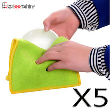 BalleenShiny 5pcs Kitchen Cleaning Cloth For Dish Bowl Efficient Microfiber Glass Towel Rags Cleaner Household Cleaning Tools
