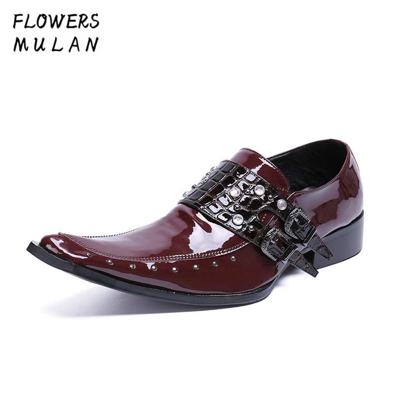 Wine Red Patent Leather Men Dress Shoes Gentleman Pointed Toe Male Business Shoes Black Two Buckle Slip On Boy Wedding Footwear