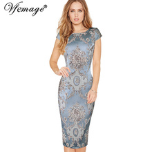 Vfemage Women Elegant 3D Flower Jacquard Fabric Casual Party Evening Mother of Bride Special Occasion Sheath Bodycon Dress 4419