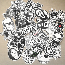 100pcs black and white mixed Sticker cartoon Stickers for laptop skateboard bicycle suitcase pvc Rock Design DIY Accessory pop