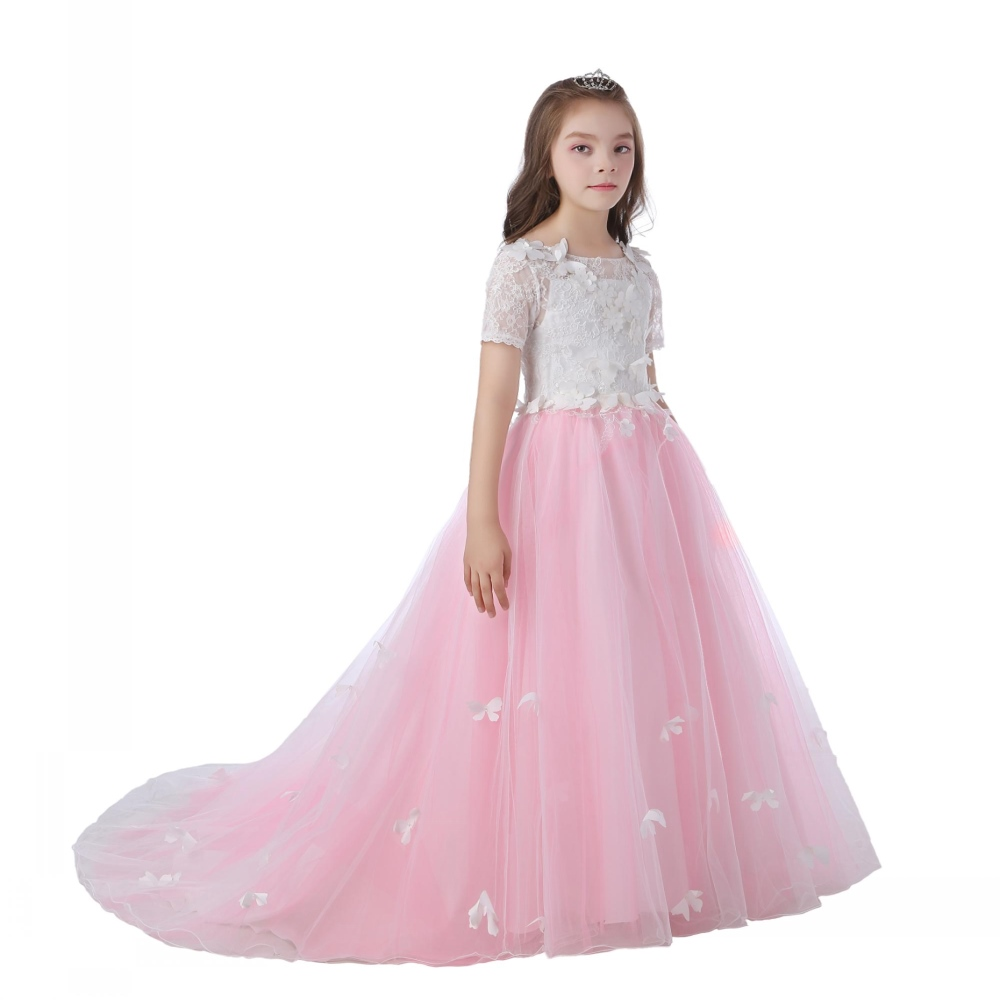 Hot Sales  4-12 Years Kids Party Dress 2018 New Style Patchwork Short Sleeves Pink Flower Girl Dresses With Train Princess Gowns<br>