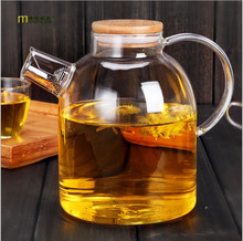 1PC High Resistant Borosilicate Glass Water Bottle Large Capacity Filtration Teapot Flower Pot With Bamboo Lid Can Be On The Gas(China)
