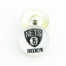 Fashion Basketball NBA Brooklyn Nets Snap Button Sports Charms for DIY 18mm Snap Bracelet Jewelry 20pcs/lot