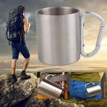 Stainless Steel Outdoor Travel Mug 220ml Portable Camping Picnic Water Cup Bottle Drinkware Carabiner Kit - Inner beauty always store