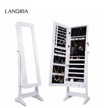 LANGRIA Free Standing Lockable Mirrored Jewelry Armoire with Stand and 2 Drawers 3 Angle Adjustable Cabinet Organizer Storage