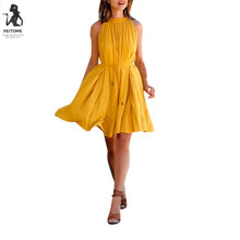Buy Yellow Summer Dress Women Sleeveless Pleated Neck Halter Beach Dress Sexy Short Mini Dress Robe De Soiree Courte#121