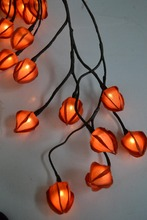 Free Shipping 6' Willow Garland Light with 32 LED + 32 PCs Chinese Lantern Decoration, battery type 3*AA, 3 Colors of Lanterns
