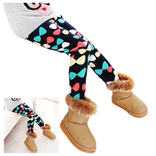 ABWE Warm Winter Girls Slim Leggings Thick Elastic Waist Leggings Stretch Comfy Pants, Navy blue - Bow 130cm(China)