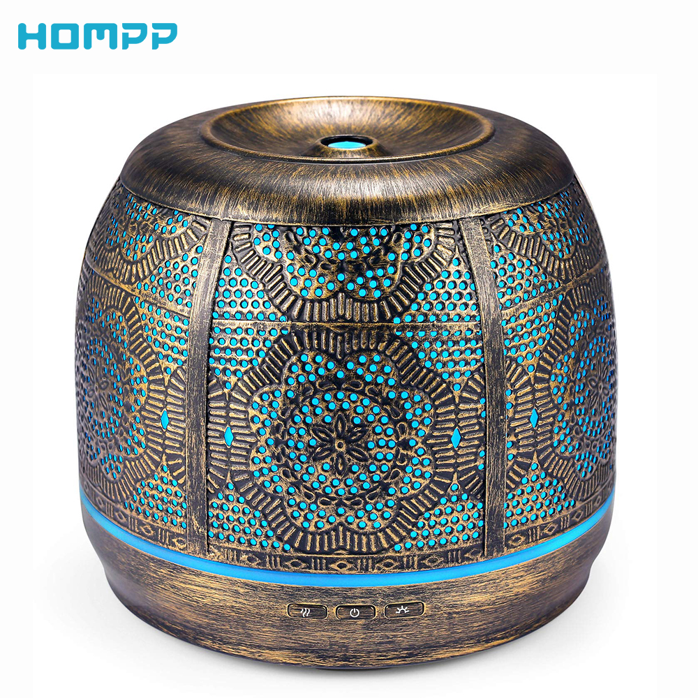 Furniture - Aroma Diffuser 500ml bronze Metal Aromatherapy Diffuser for Essential Oil 7 Color Fragrance Lamp Humidifier